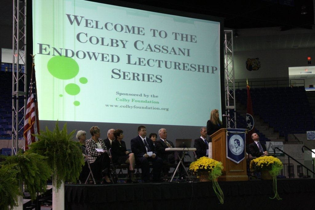 Colby Foundation Founder Starla Cassani addresses the students at LMU